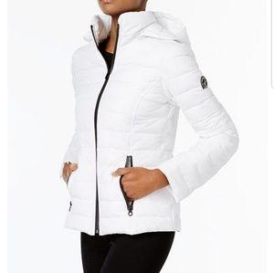Nautica Hooded Puffer Coat White with Black Trim